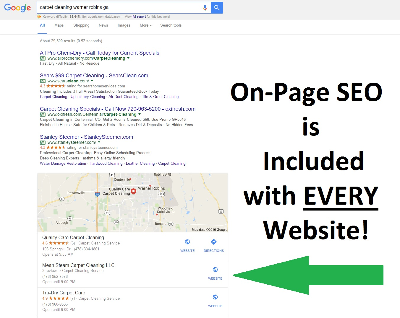 Example of On-Page SEO results with new Mobile Friendly Website