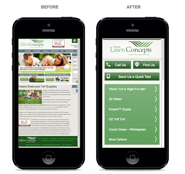 Image of before and after website mobile optimization.
