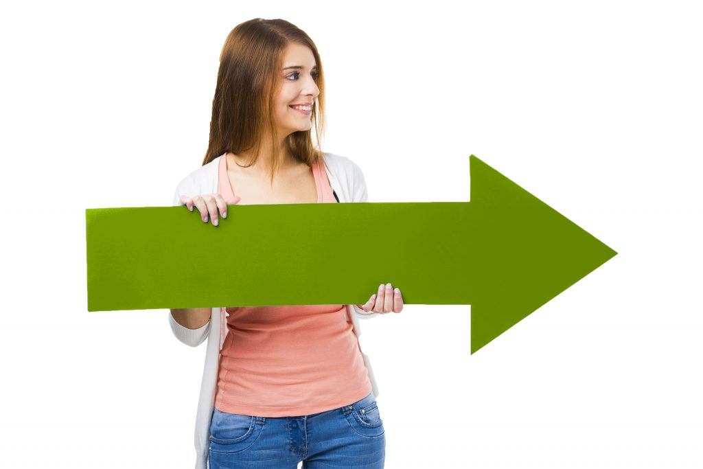 woman with green arrow pointing to form to get started